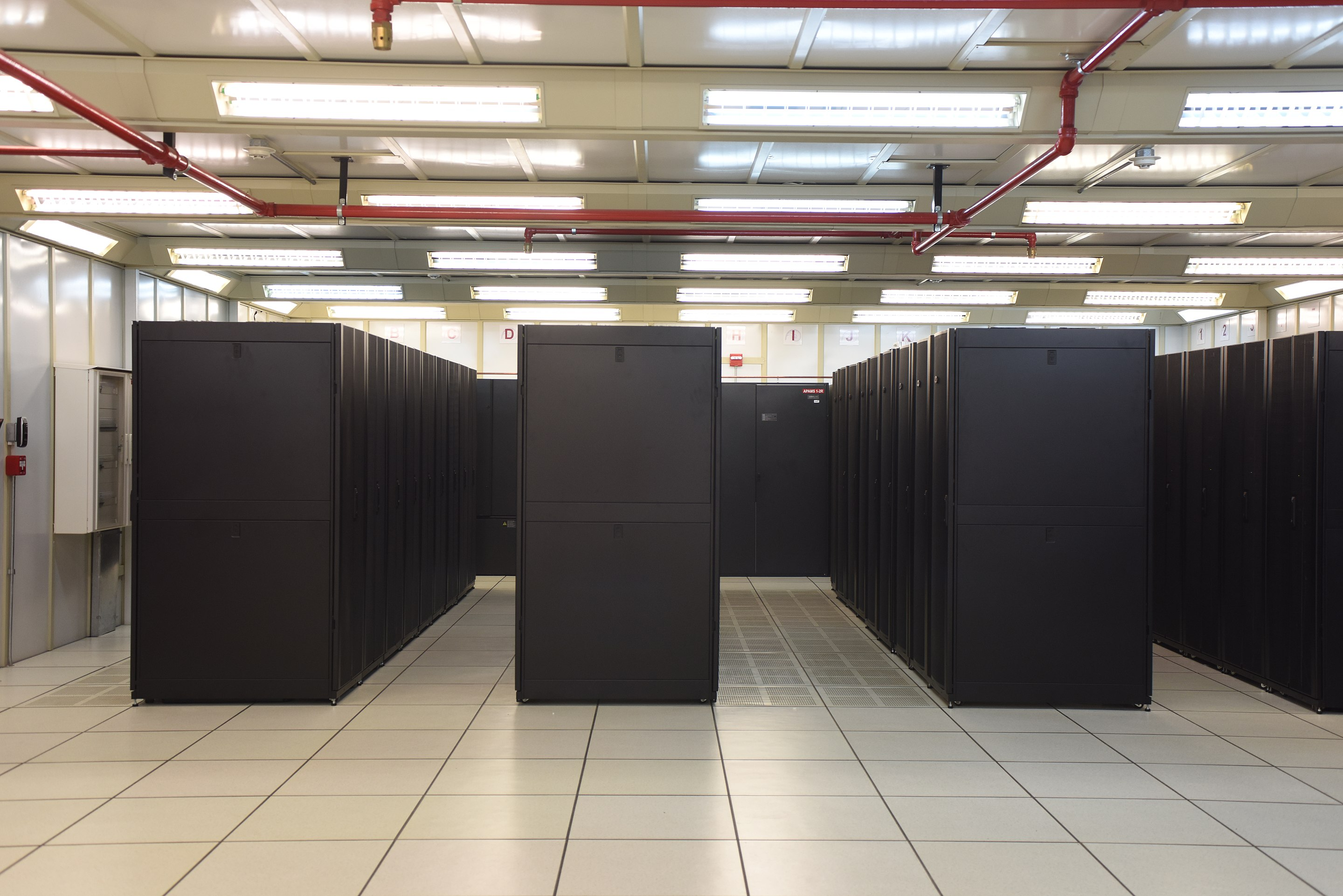 A data center containing a bunch of racks for servers